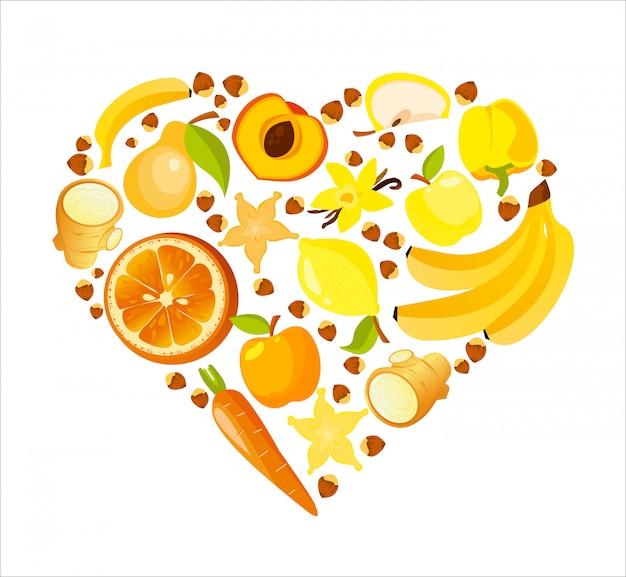 Forma de coração de frutas e legumes vermelhos. ilustração orgânica de nutrição saudável.