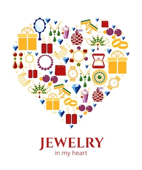 Forma de coração de joias. brinco e anel, botões de punho e colar, ilustração vetorial