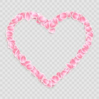 Forma de coração de pétalas de flores caindo romântica.