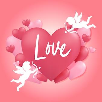 Forma de coração e cupido com mensagem de amor.
