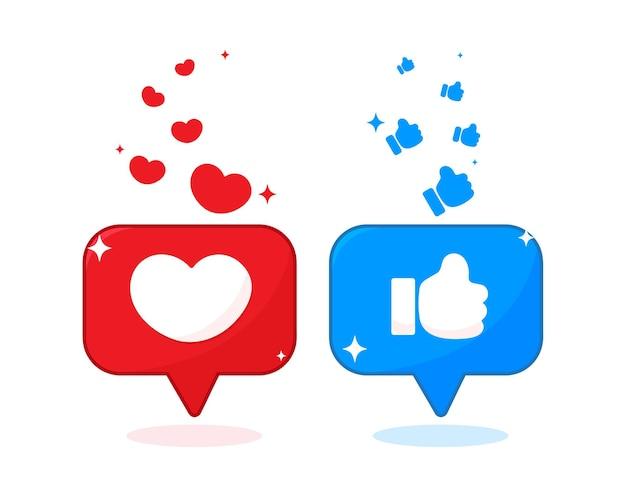 Forma de coração e ícone de polegar na ilustração de mídia social