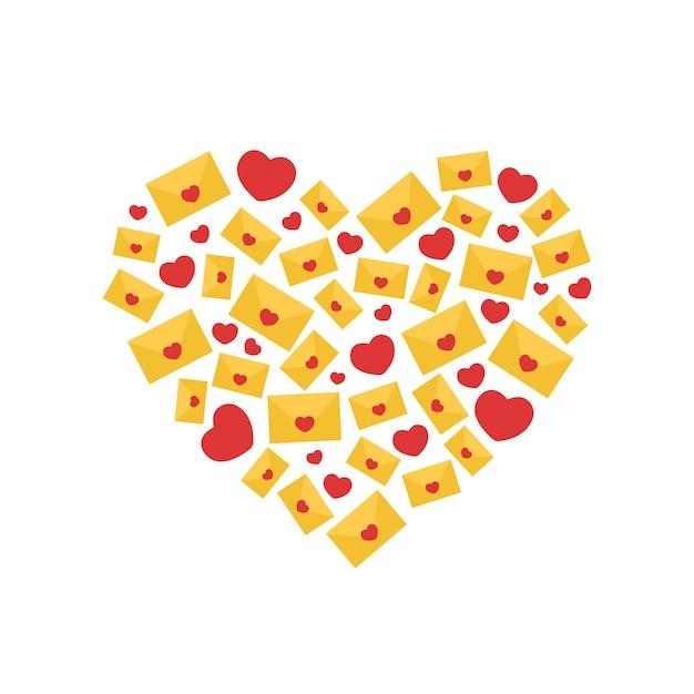 Forma de coração feita de letras e corações.