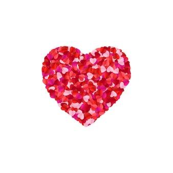 Forma de coração forrada com coração de papel
