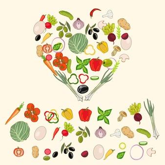 Forma de coração por vários vegetais