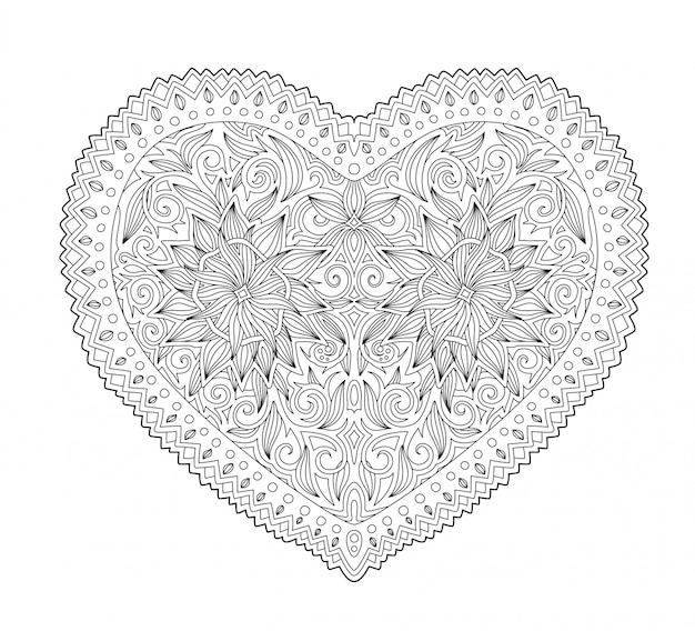 Forma de coração preto e branco em fundo branco