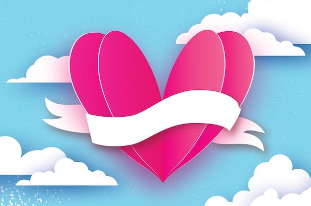 Forma de coração rosa. amor em estilo de corte de papel