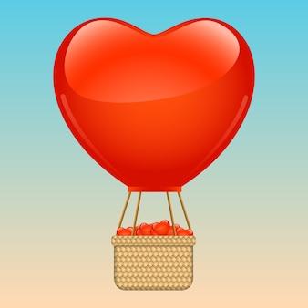 Forma de coração rosa balão de ar quente voando
