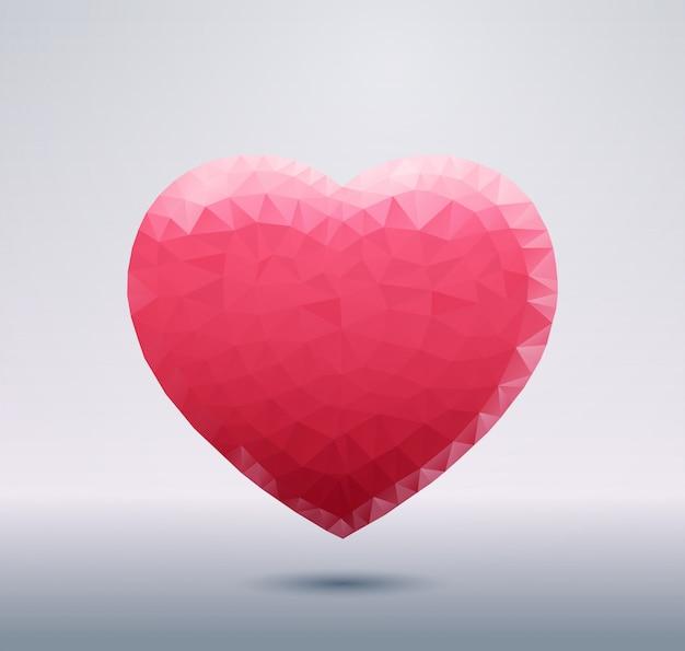 Forma de coração rosa poligonal isolada com sombra símbolo de amor abstrata