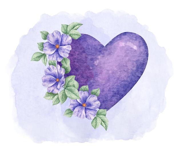 Forma de coração roxo em aquarela com flores
