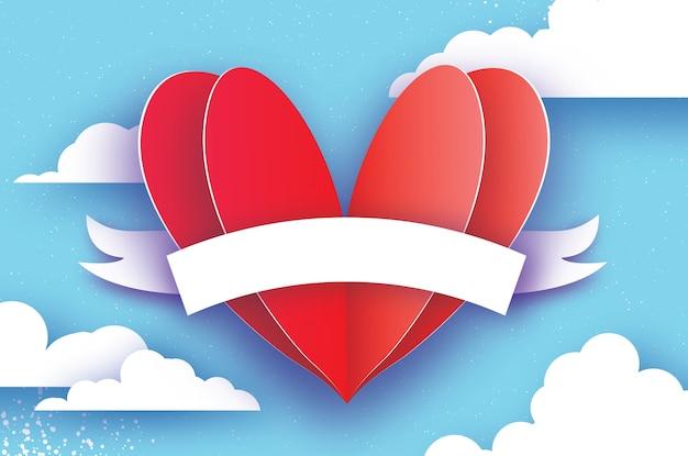 Forma de coração vermelho. amor em estilo de corte de papel