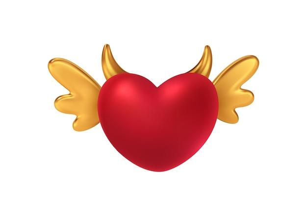 Forma de coração vermelho brilhante com asas e chifres dourados.
