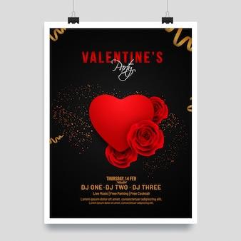 Forma de coração vermelho brilhante e ilustração de flor rosa em preto bac