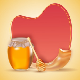 Forma de coração vermelho em branco e gotejador com pote de mel