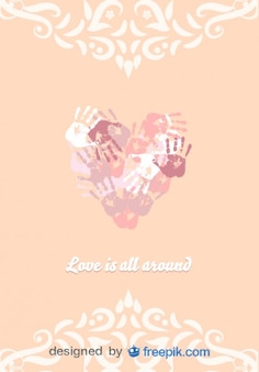 Forma de coração vetor mãos colorfull ilustração