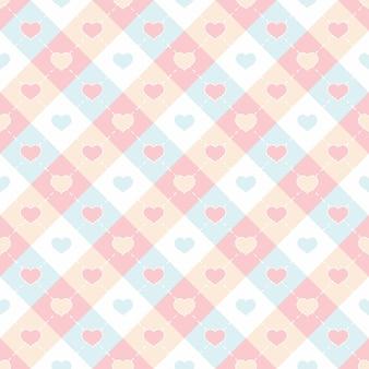 Forma de corações coloridos em um fundo adorável padrão quadriculado