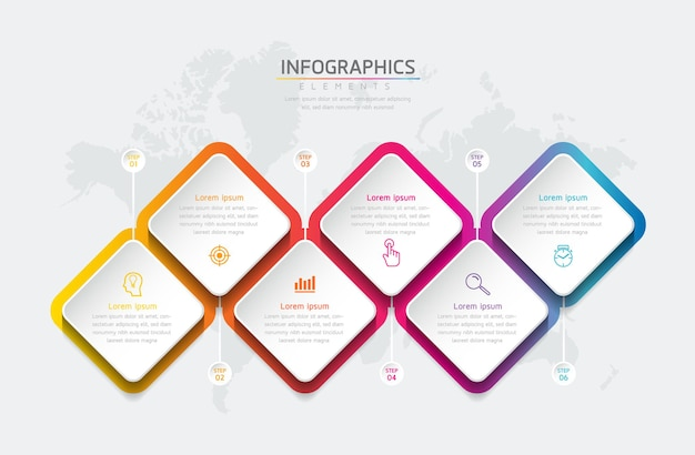 Forma de diamante de negócios. infográfico modelo de design