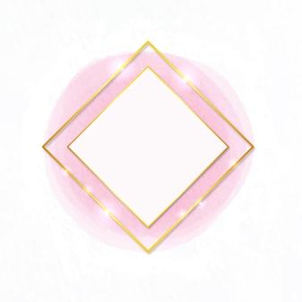 Forma de diamante em aquarela com moldura dourada