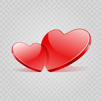 Forma de dois corações vermelhos brilhantes isolada em fundo transparente.