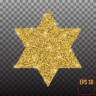 Forma de estrela com efeito glitter dourado