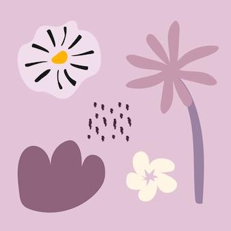 Forma de flor estética, vetor de conjunto de elementos de design