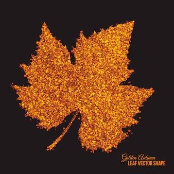 Forma de folha de uva outono pontos brilhantes dourados