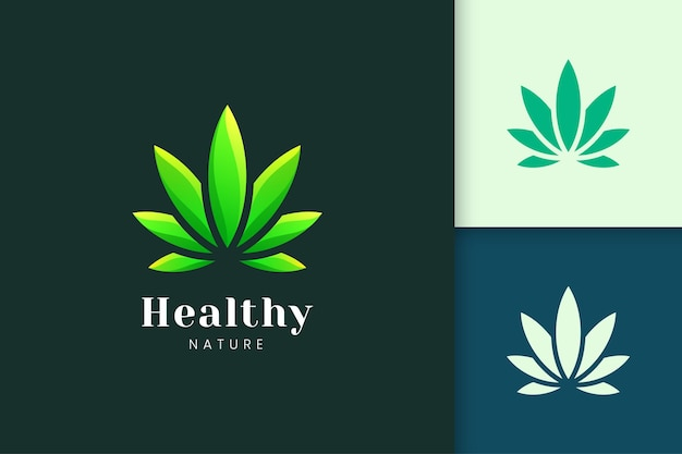 Forma de folha verde para logotipo de cannabis ou maconha representa droga ou ervas