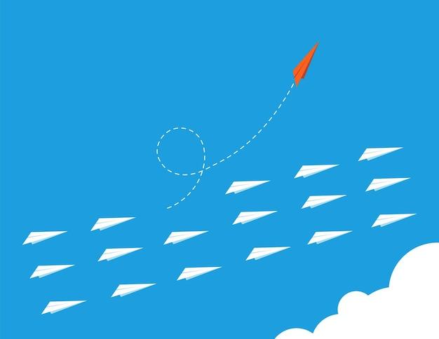 Forma de inovação. seja diferente, escolha novos caminhos, coragem inovadores e tendências. liberdade ou mudança, ilustração do vetor de negócios criativos. direção da inovação, mudança de carreira, coragem individual