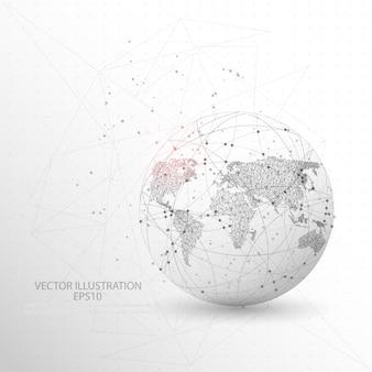 Forma de mapa do mundo globo digitalmente desenhada baixa armação de arame poli