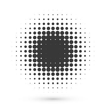 Forma de meio-tom do círculo. efeito grunge de ponto redondo para logotipo ou pôster médico ou cosmético