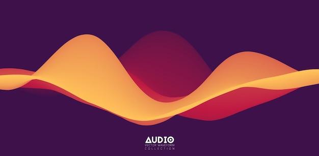 Forma de onda sólida laranja 3d
