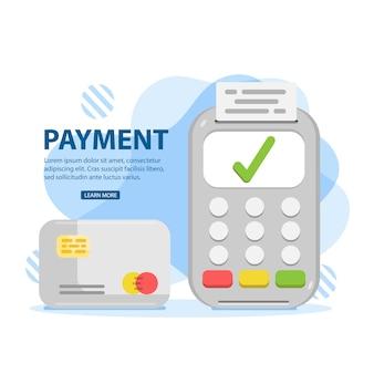Forma de pagamento. cartão de crédito usando o terminal pos, pagamento aprovado.