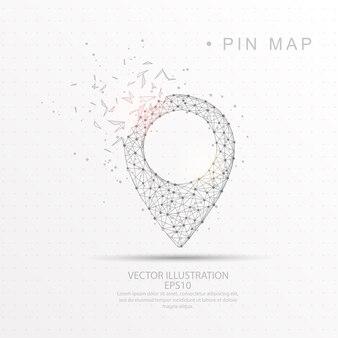Forma de pino de mapa digitalmente desenhada baixa armação de arame poli
