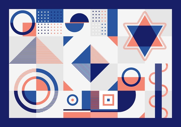 Forma de retângulos, triângulo, quadrados e círculos de padrão geométrico abstrato azul e laranja em fundo branco.