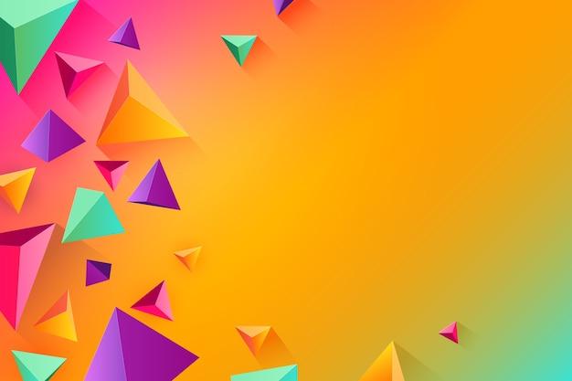 Forma de triângulo 3d em tema de cores vivas para o fundo