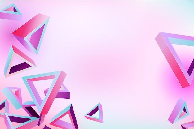 Forma de triângulo 3d em tema de cores vivas para papel de parede