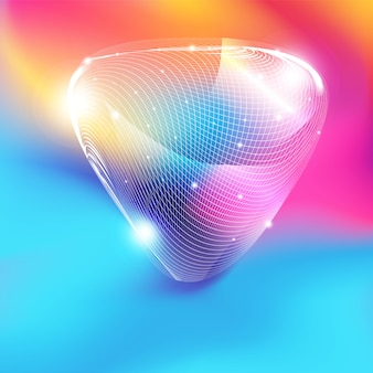Forma de triângulo de malha branca abstrata com glitter em fundo gradiente colorido