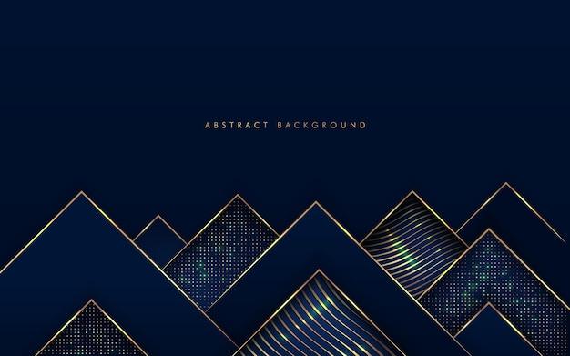 Forma de triângulos de luxo azul marinho escuro com linha dourada e textura glitter