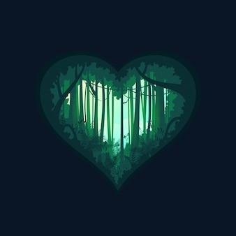Forma do coração da floresta tropical tropical da silhueta verde da selva. fundo do conceito de natureza.