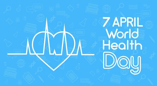 Forma do coração do dia mundial da saúde com cardiograma