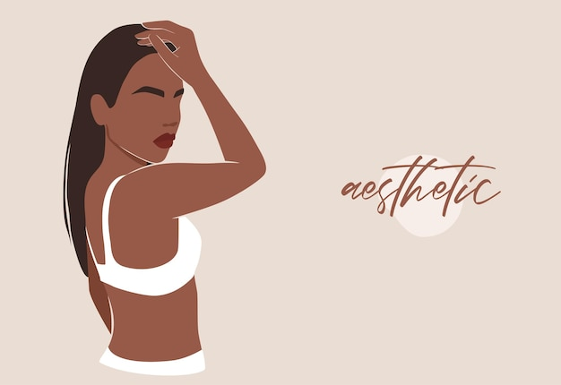 Forma feminina, corpo abstrato da mulher na ilustração de maiô.