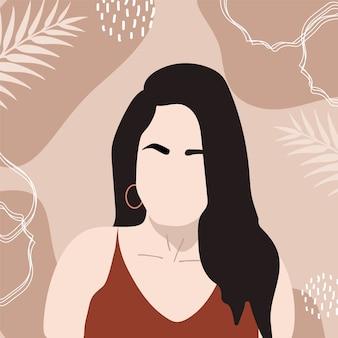 Forma feminina e silhueta em fundo retrô. jovem abstrata em tons pastel.