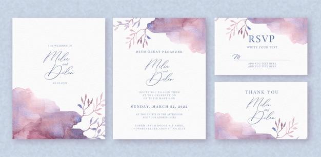 Forma floral linda escova no conjunto de convite de casamento inicial