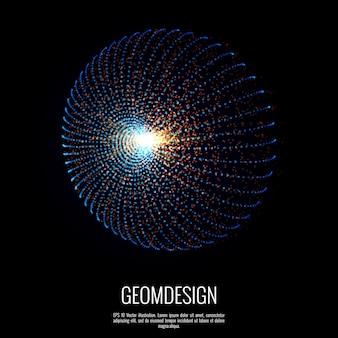 Forma geométrica abstrata consiste em pontos. explosão de embarcações no espaço projetado com elemento de partículas.