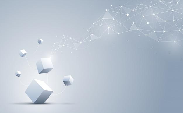 Forma geométrica abstrata e conexão com os cubos 3d no fundo.