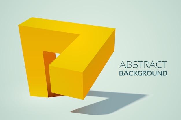Forma geométrica abstrata em 3d amarelo