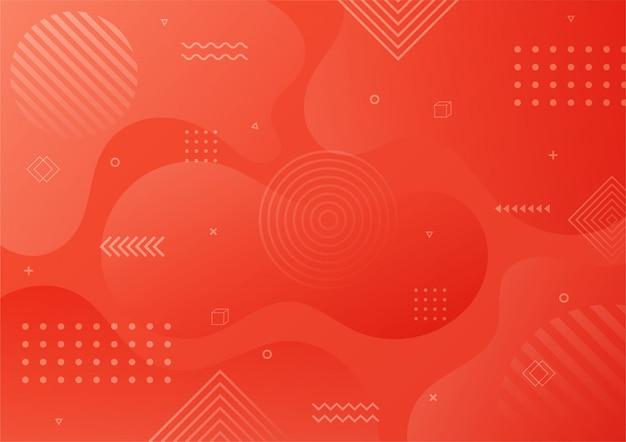 Forma geométrica abstrata vermelha gradiente moderna. fundo de estilo memphis.