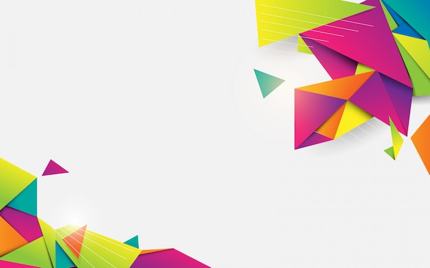 Forma geométrica colorida de cristal 3d abstrata com espaço em branco para seu projeto