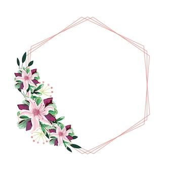Forma geométrica com moldura em aquarela de flores