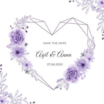 Forma geométrica de amor com bela moldura de flor roxa