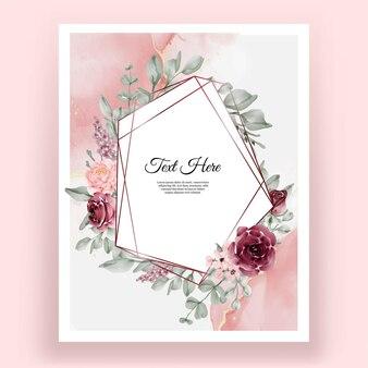 Forma geométrica em aquarela de flor rosa elegante